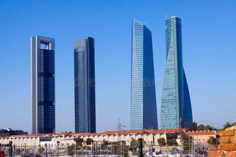 Four Towers Business Area from railroad. Madrid. Spain stock image
