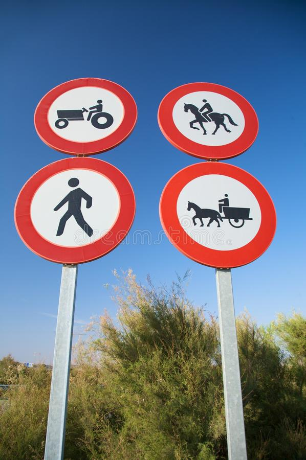 Four traffic signs. Group of highway access prohibit signals in spain stock images
