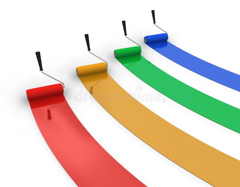 Four trails of color paint stock illustration