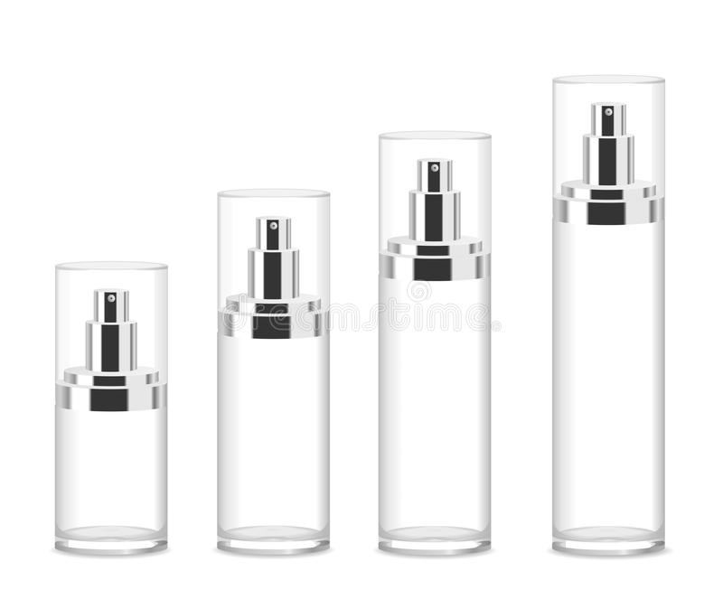 Four transparent cosmetic bottles royalty free illustration