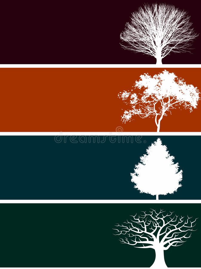 Download Four tree banners stock vector. Image of tree, silhouettes - 5353016