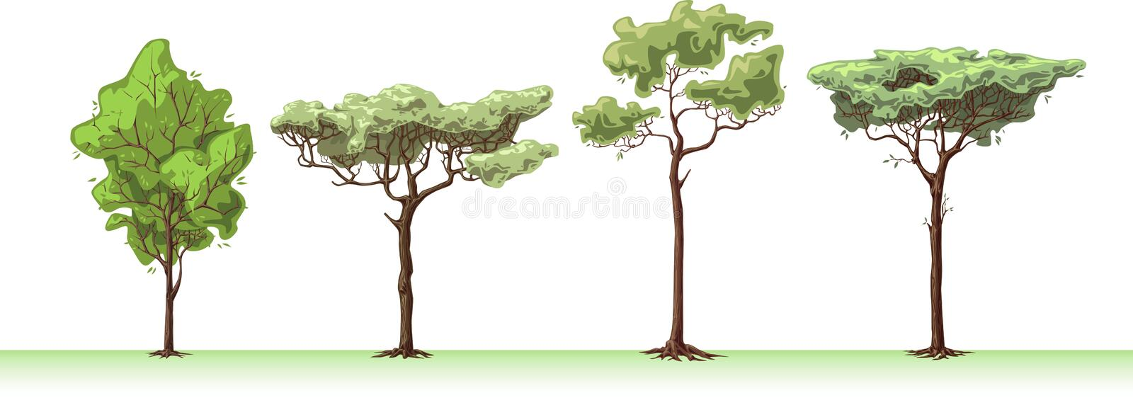 Four trees. The four great handemade trees royalty free illustration