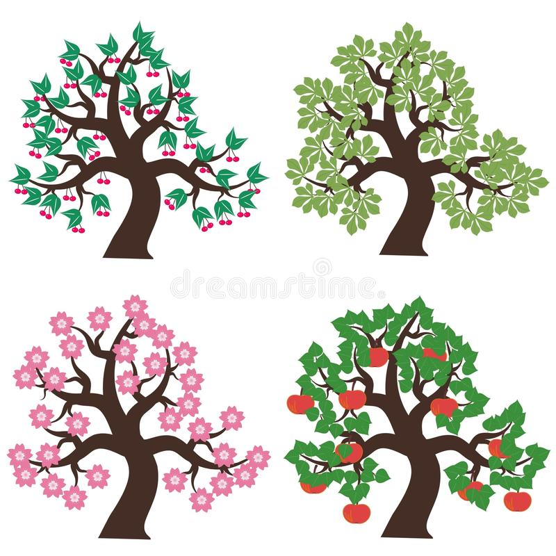 Four trees on white background stock vector illustration of petal download four trees on white background stock vector illustration of petal white 16250742 mightylinksfo