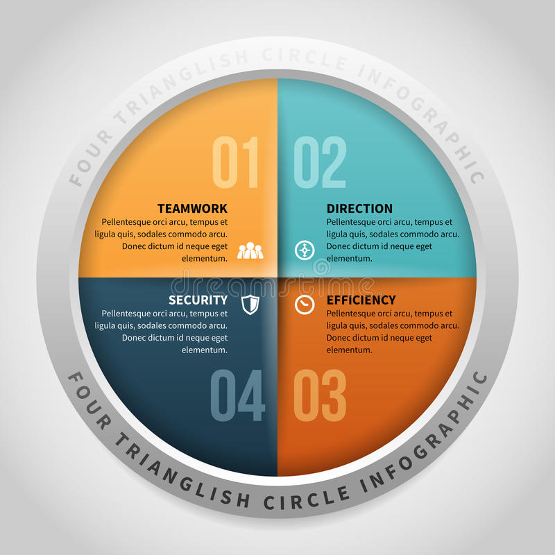 Four Trianglish Circle Infographic. Vector illustration of four trianglish circle infographic design element stock illustration