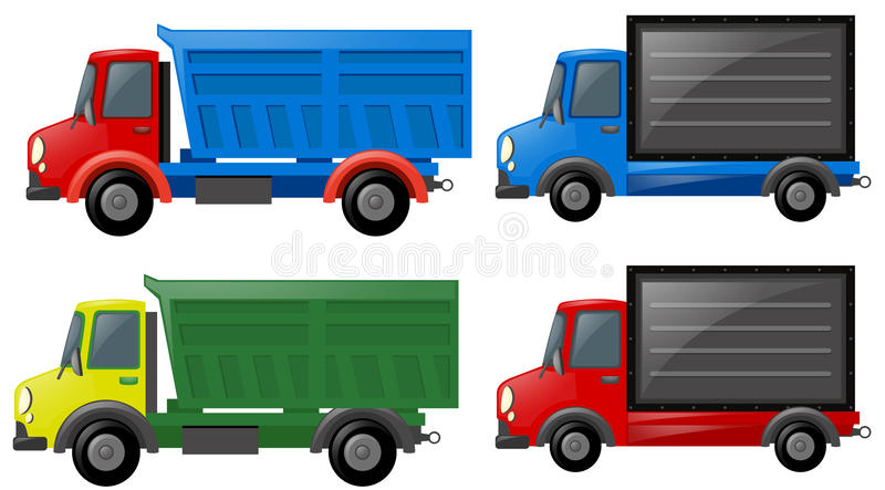 Four trucks in different colors vector illustration