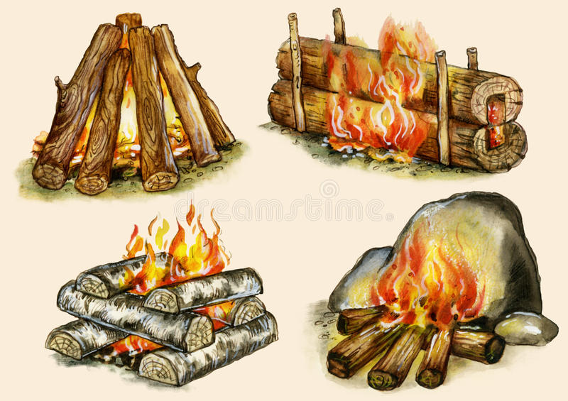 Four types of campfires. Shelter,block, well, warming on buff background stock illustration
