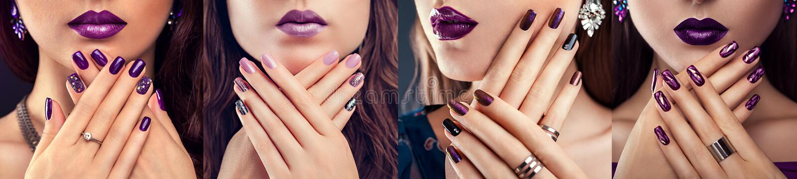 Four types of purple nail design. Beautiful woman with perfect make-up, manicure and jewellery. Fashion. Four types of purple nail design. Beautiful women with royalty free stock images
