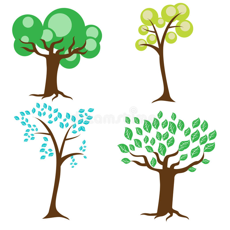 Four types of trees vector illustration