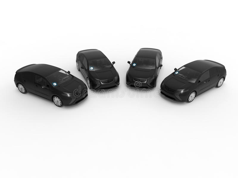 Four uber cars. 3D render illustration of four uber cars isolated on a white background with shadows vector illustration