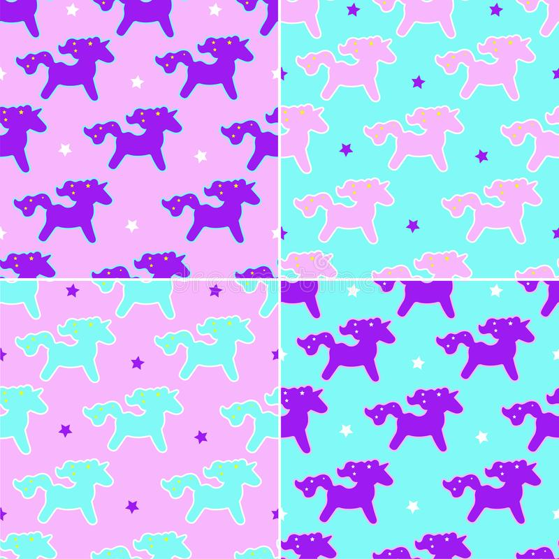 Four unicorn dreams pattern on pink and blue background with stars. Four pattern with unicorn in neon color. Baby background. For boys and girls. For textiles stock illustration