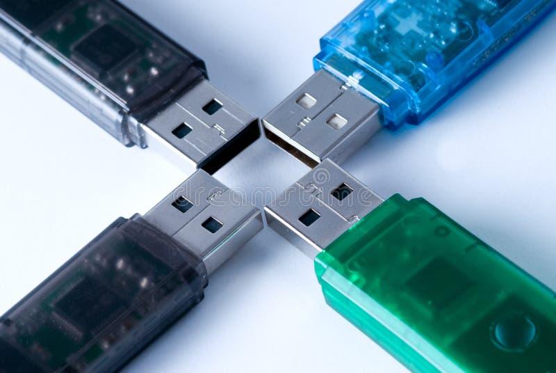 Four USB Memory Sticks Royalty Free Stock Image