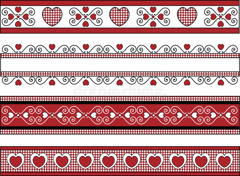 Four Valentine Borders With Gingham Trims royalty free stock photography