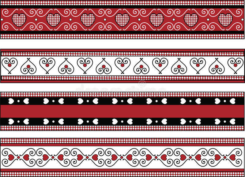 Download Four Valentine Borders With Gingham Trims Stock Vector - Illustration: 12132446