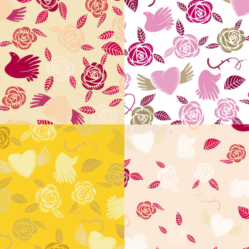 Four Valentine seamless patterns stock illustration