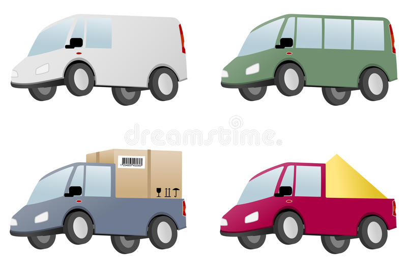 Download Four vans with cargo stock vector. Image of cargo, graphic - 21488376