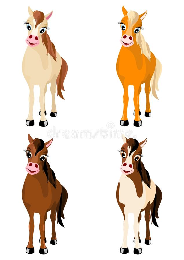 Four various horses stock illustration