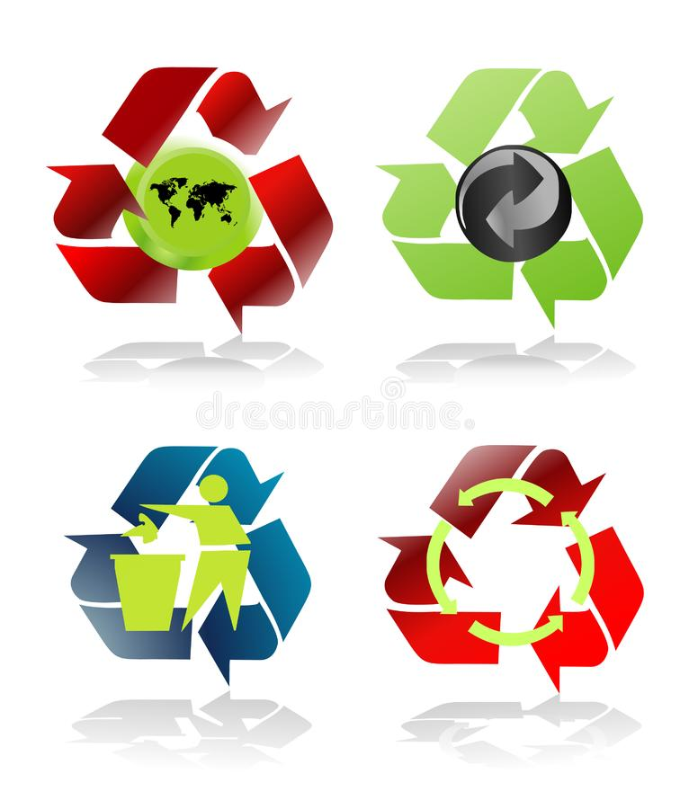 Four various recycle icons royalty free stock photo