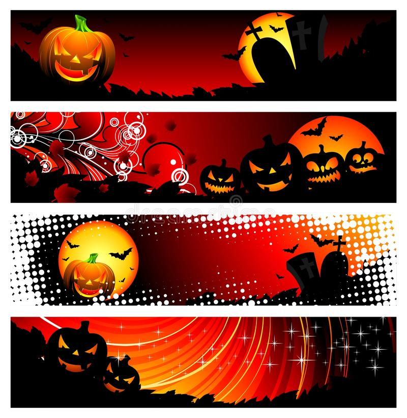 Free Four Vector Banner On A Halloween Theme Stock Images - 10731954