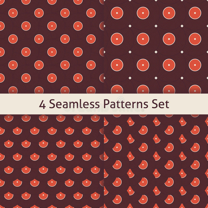 Four Vector Flat Seamless Music Vinyl Disc Patterns Set vector illustration