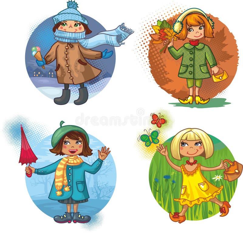 Four vector illustration - little girls and season stock illustration