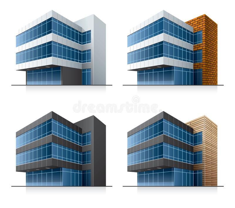 Four vector office buildings vector illustration