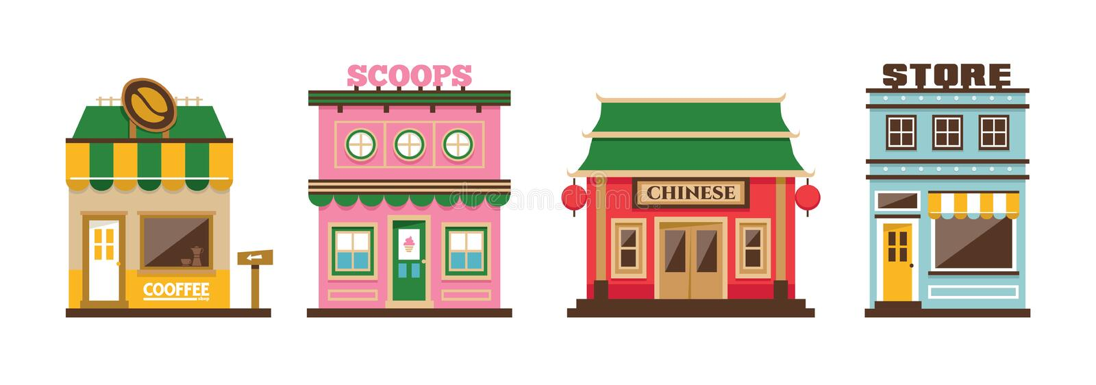 Four vector shop building, coffee shop, ice cream, scoop, chinese food, store, market. Flat design vector isolated suburban shop royalty free illustration