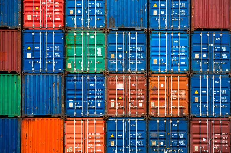 Download Four Vertical Rows Of Shipping Containers Stock Image - Image of import, blue: 43411799