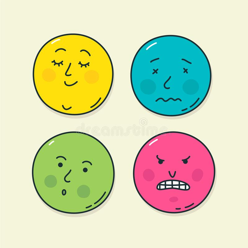 Four very popular emoticons. Vector. Illustrations of emotional states. Icons for website and labels. Kawaii Emoji. Chubby faces i. N the form of stickers royalty free illustration
