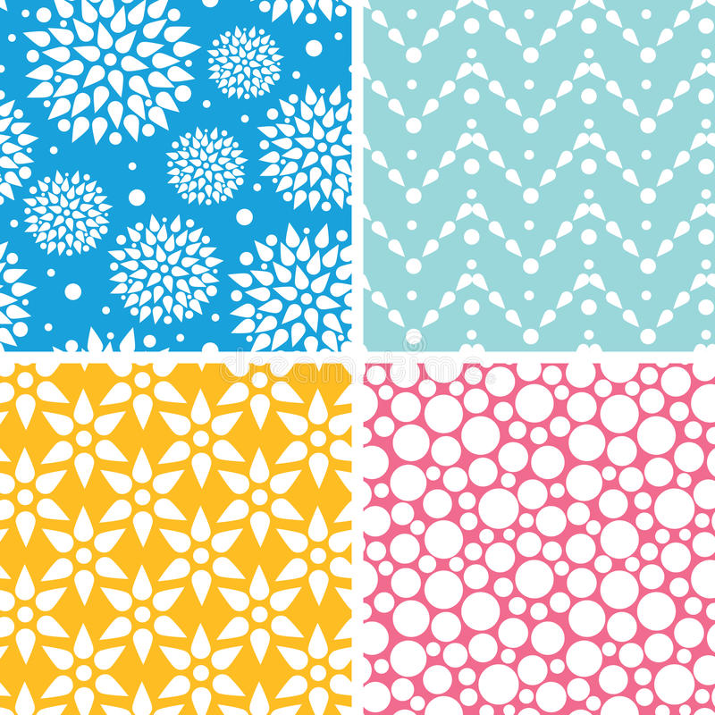Four Vibrant Abstract Geometric Patterns And Stock Vector