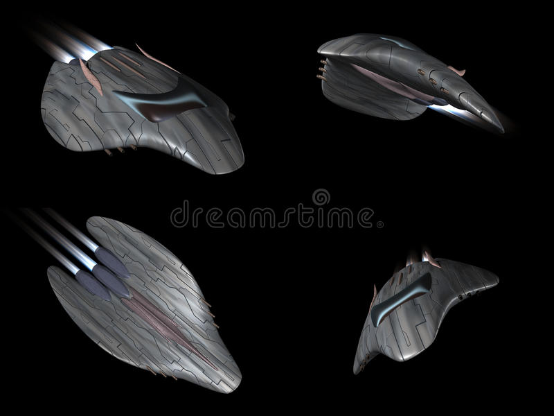 Download Four Views Of A Powerful Spaceship Very Streamline Royalty Free Stock Photography - Image: 18253637
