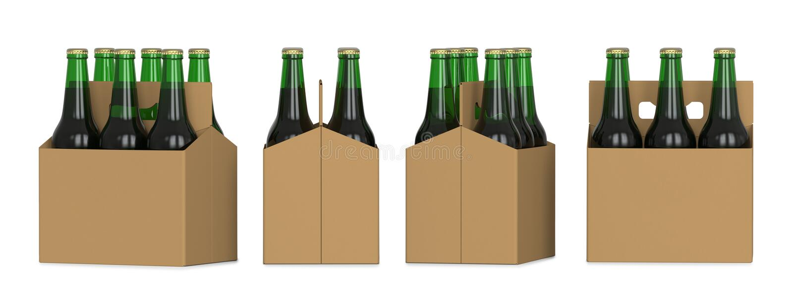 Four views of a six pack of green beer bottles in cardboard box. 3D render, isolated on white background. royalty free illustration