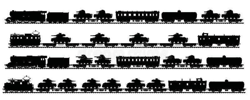 Four vintage military trains stock illustration