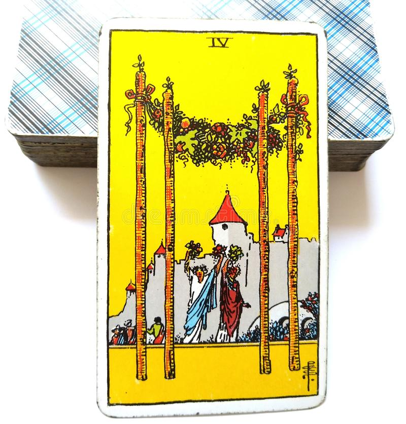 4 Four of Wands Tarot Card. Is about Stability Prosperity Success Homecoming Reunions Welcome Celebrations Parties and Surprises stock photos