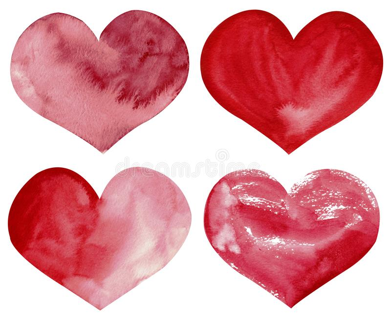 Four watercolor red and pink hearts. Valtentine`s day clipart. Illustration vector illustration