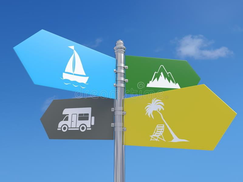Summer destinations signpost stock photo