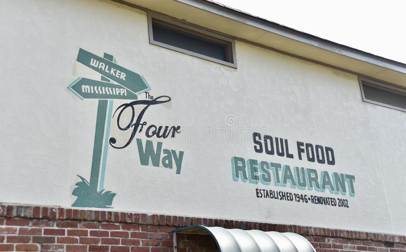 Four Way Soul Food Restaurant Established 1946, Memphis, TN. No trip to Memphis would be complete without paying a visit to Four Way Grill. Tucked in the royalty free stock photo