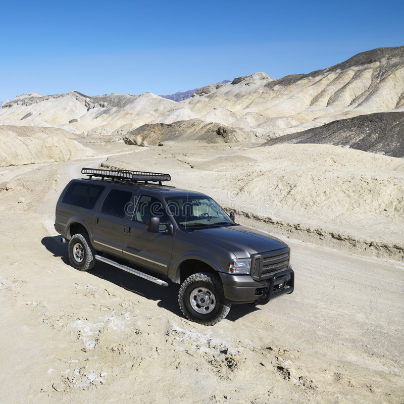 Four wheel drive truck in Death Valley. stock photography