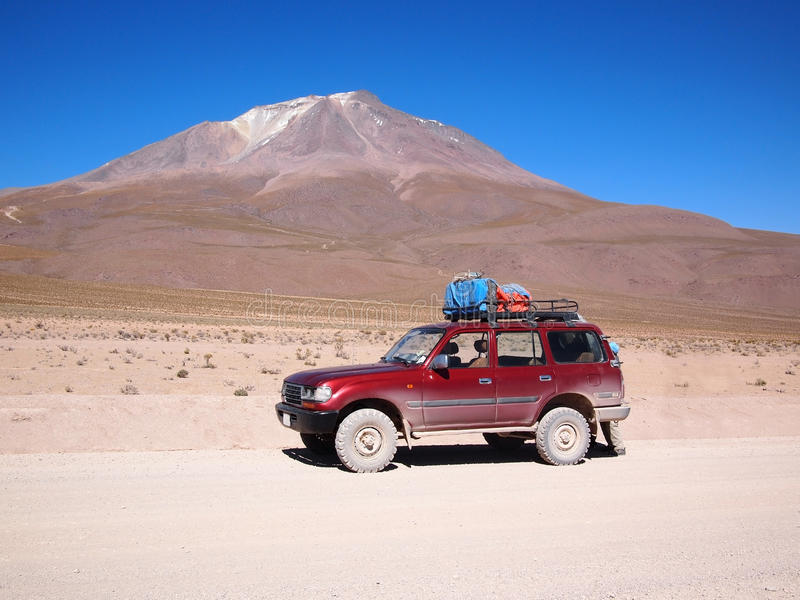 Four-wheel drive vehicle in Bolivia desert stock image