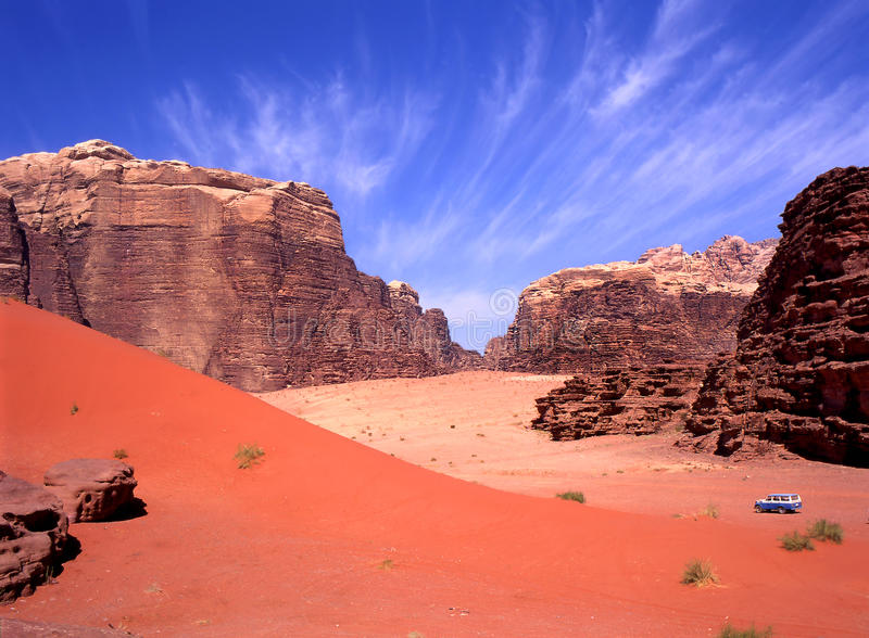 Four wheel drive in Wadi Rum stock images