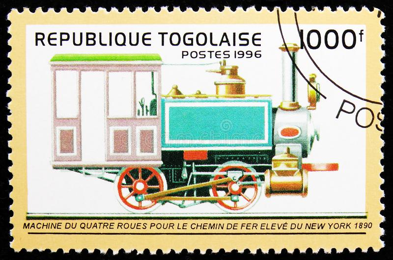 Four-wheel Locomotive, New York 1890, Locomotives serie, circa 1996. MOSCOW, RUSSIA - AUGUST 8, 2019: Postage stamp printed in Togo shows Four-wheel Locomotive royalty free stock photo