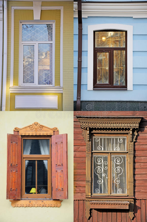 Four windows. Two new and two old stock images