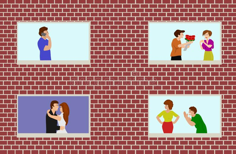 Four windows of the apartment ,People`s lifestyle vector illustration