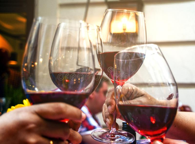 Four Wine Glasses With Red Wine stock photography