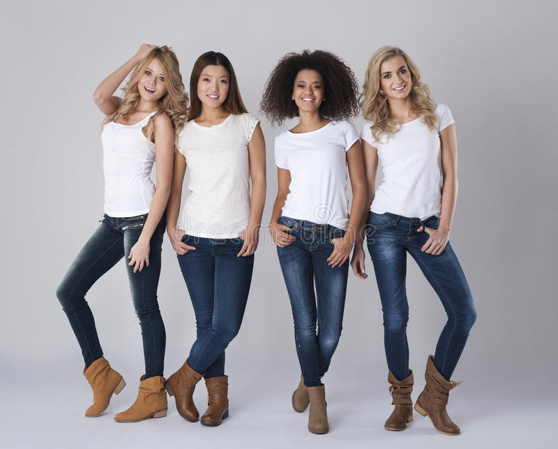 Four women. Natural beauty of every single woman royalty free stock photography