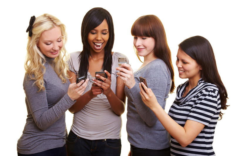 Download Four Women Reading Text Messages Stock Photo - Image: 14837878