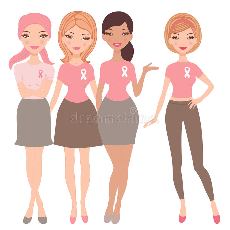 Download Four Women Wearing  Breast Cancer Awareness Ribbon Stock Image - Image: 27472241