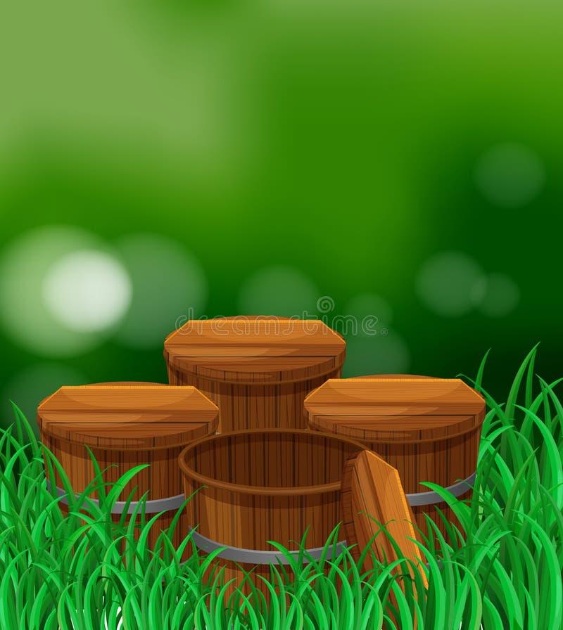 Download Four Wooden Barrels In Garden Stock Vector   Illustration Of Wooden,  Accessory: 89443450