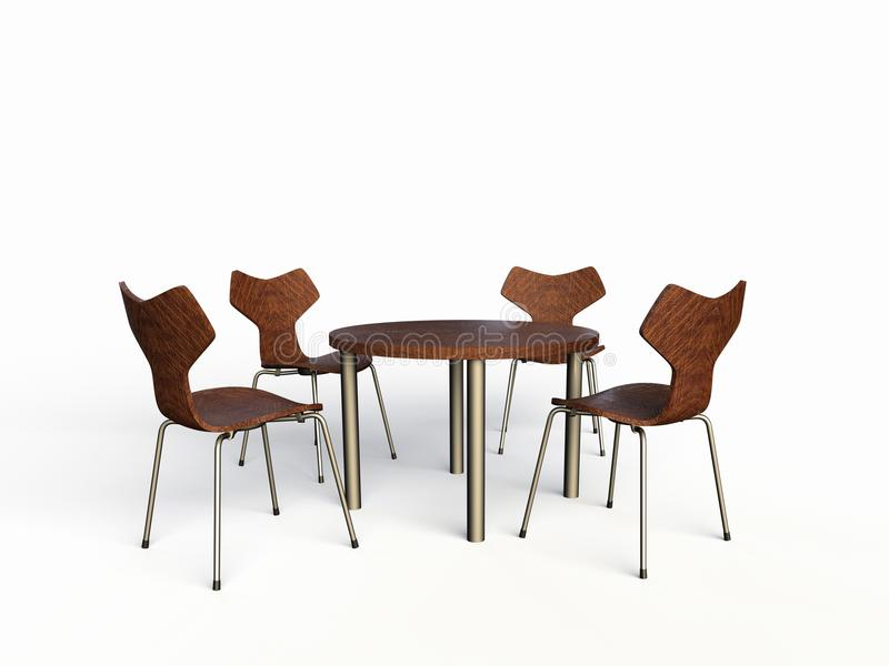 Four wooden chairs. Computer generated illustration of a of four wooden chairs with wooden table vector illustration