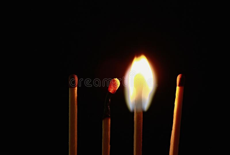 Four wooden matches royalty free stock photos