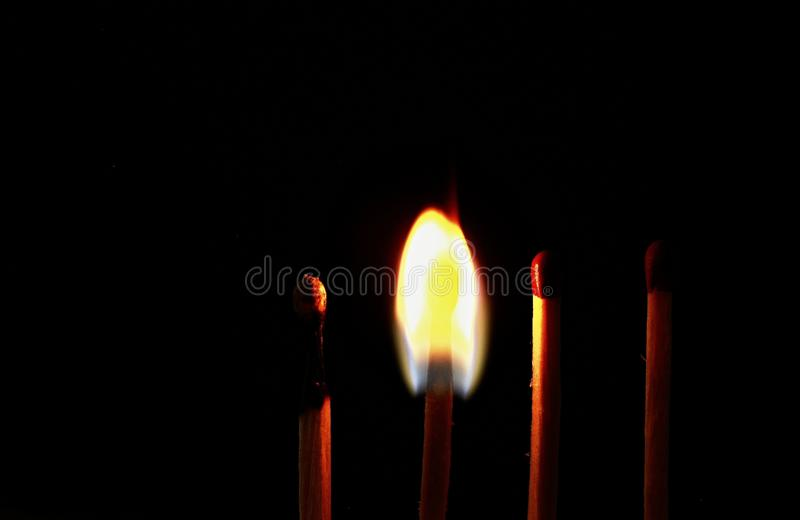 Four wooden matches stock photography